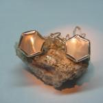 cercei hexagon din argint cu sidef