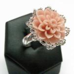 inel argint cu coral roz