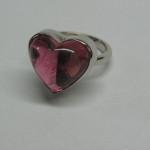 inel aur alb cu ametist in forma de inima