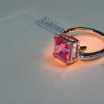 inel aur alb cu topaz roz