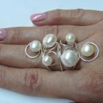 inel din argint cu perle