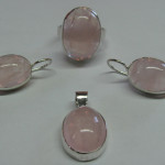 set argint cu cuart roz